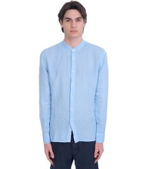 120% lino shirt in cyan linen