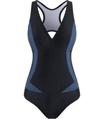 cutout colorblock racerback one-piece swimsuit