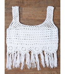 fringed cut out women's tank top