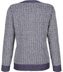 tröja med glansigt garn dress in mörkblå::vit