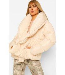 gewatteerde donzen jas met grote kraag en ceintuur, ecru