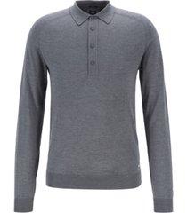 boss men's fontani slim-fit long-sleeved silk polo shirt