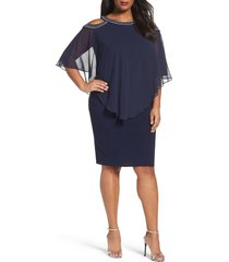 plus size women's alex evenings embellished cold shoulder overlay cocktail dress, size 20w - blue