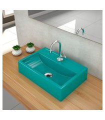 kit cuba para banheiro trevalla q45e torneira válvula 1pol azul turquesa