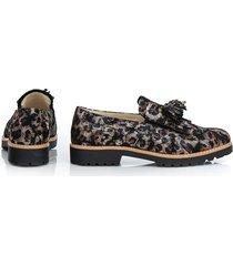 skórzane półbuty zapato 247 czarne liście