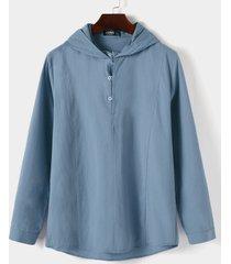 yoins basics hombres otoño casual con capucha liso botón delantero manga larga camisa