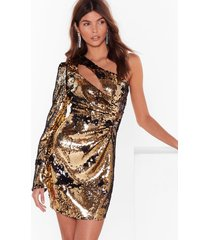 check you cut-out sequin one shoulder dress