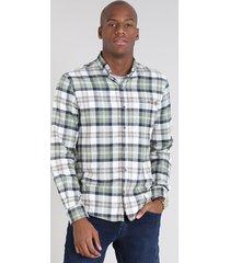 camisa masculina comfort estampada xadrez em flanela manga longa off white