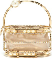 'abaco' strass embellished moving pearls top handle clutch