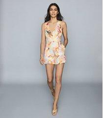 reiss floripa - floral-print linen playsuit in multi, womens, size 12