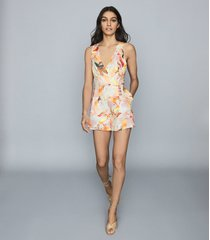 reiss floripa - floral-print linen playsuit in multi, womens, size 12