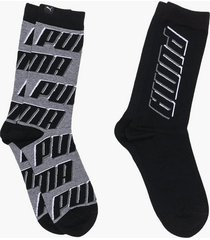 puma puma sock all over logo 2p strumpor black