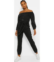 denim jumpsuit met ceintuur en open schouders, washed black