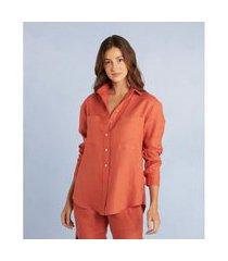 camisa kelly reta em linho com manga longa cor: laranja - tamanho: pp