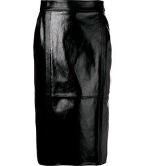 givenchy high rise leather midi skirt - black