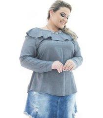 blusa confidencial extra jeans manga longa london com babado plus size feminina