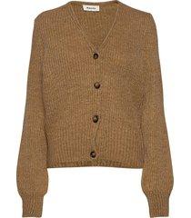 flash cardigan stickad tröja cardigan brun modström