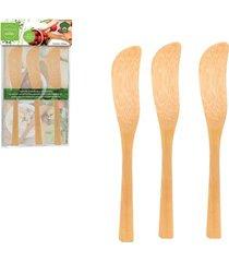 espatula para patê em bambu com 3 peças