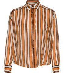 boxy fit allover printed viscose mix shirt långärmad skjorta orange scotch & soda