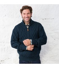 mens half zip irish aran sweater navy large