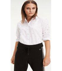 camisa entallada monogramas metálicos th blanco tommy hilfiger