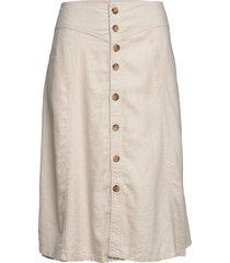 carpalm hw linen mix button skirt knälång kjol creme only carmakoma