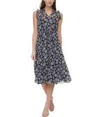 tommy hilfiger paisley-print tiered tie-front midi dress
