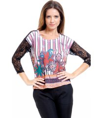 blusa 101 resort wear crepe mangas renda estampada listrada