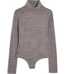 women's madewell turtleneck bodysuit, size xx-small - grey