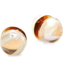 goldtone marbled resin earrings