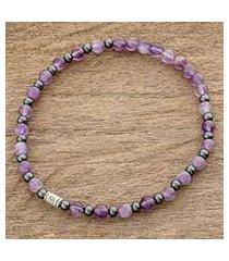 amethyst beaded stretch bracelet, 'amethyst rain' (guatemala)