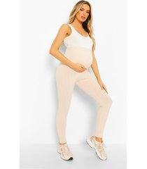 zwangerschap geribbelde gekreukelde over the bump leggings, stone
