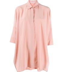 agnona loose-fit silk shirt - pink
