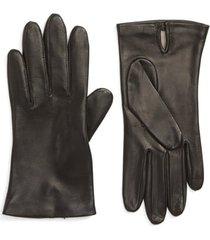 women's nordstrom lambskin leather gloves, size small - black