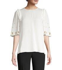 kobi halperin women's krissy beaded silk blouse - ochre - size m
