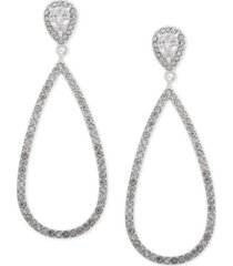 anne klein silver-tone crystal pave teardrop drop earrings