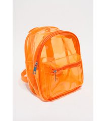 mochila naranja nuevas historias  plástica transparente flúo