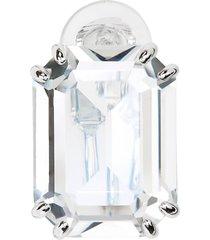 swarovski mesmera single rectangle crystal clip earring in white at nordstrom