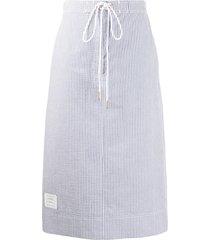 thom browne seersucker logo-patch skirt - blue