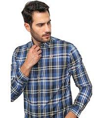 camisa tommy jeans reta xadrez azul-marinho/amarelo - kanui