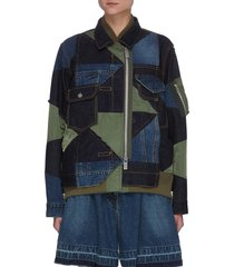 mixed geometric patchwork bomber jacket
