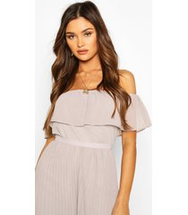 chiffon ruffle off shoulder mix and match top, grey