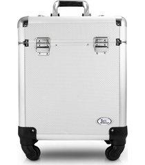 maleta profissional com rodinhas de 360⺠alumãnio jacki design beauty prata - prata - feminino - dafiti