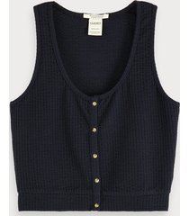 scotch & soda cropped seersucker tanktop