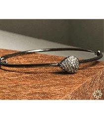pulseira estelle semijoias gota zircônias ródio negro feminina - feminino