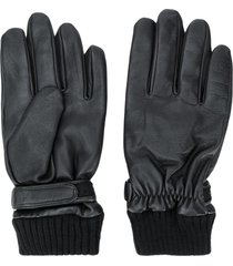 karl lagerfeld embossed leather gloves - black