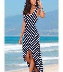 cucharada de rayas azul marino cuello dobladillo irregular maxi vestido