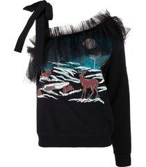 viktor & rolf one-shoulder tie fastening sweatshirt - black