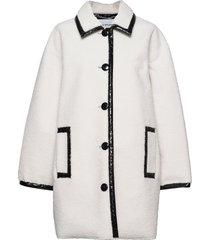 jacey jacket wollen jas lange jas wit stand studio