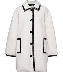 jacey jacket wollen jas lange jas wit stand